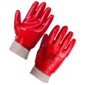 KNIT WRIST RED PVC DIP GLOVES, x 1 pair
