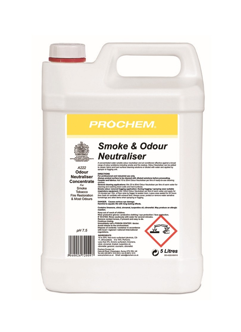SMOKE AND ODOUR NEUTRALISER, Prochem 5Lt