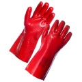 "RED PVC DIP GAUNTLET GLOVE  - 11"" length x 1 pair"